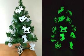 Светящаяся новогодняя игрушка зеленое свечение